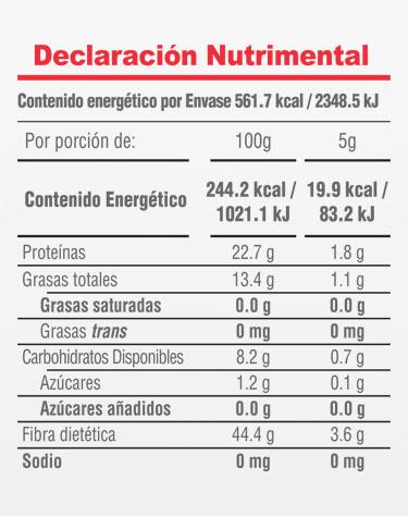 Informacion Nutrimental - Postrelicioso® Cocoa Natural
