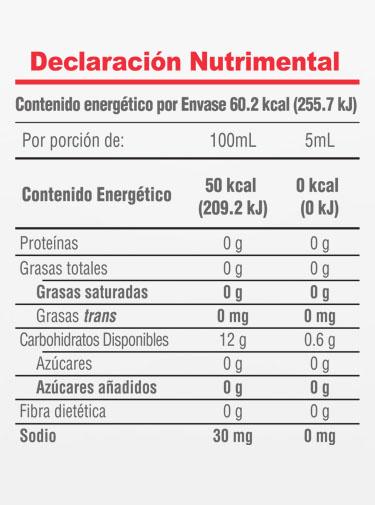 Informacion Nutrimental - Gran  Reserva Molina® Natural Vanilla Extract